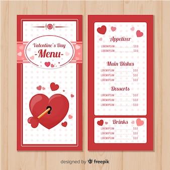 Menüvorlage für gesperrte herzen zum valentinstag