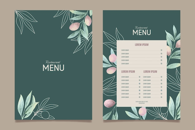 Menüvorlage für gesundes essen des aquarells