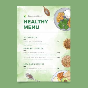 Menüvorlage für gesundes lebensmittelrestaurant des aquarells