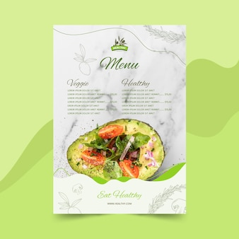 Menüvorlage für gesundes lebensmittelrestaurant