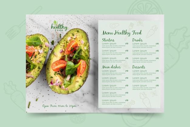 Menüvorlage für gesundes restaurant