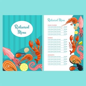 Menüvorlage für meeresfrüchterestaurants
