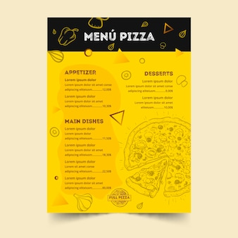 Menüvorlage für pizzarestaurant