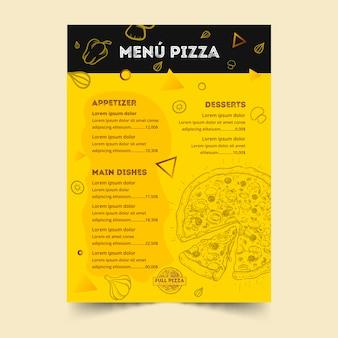 Menüvorlage für pizzarestaurant