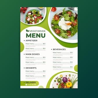 Menüvorlage für vegetarisches essen mit farbverlauf