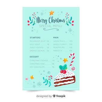 Menüvorlage für weihnachten in restaurants