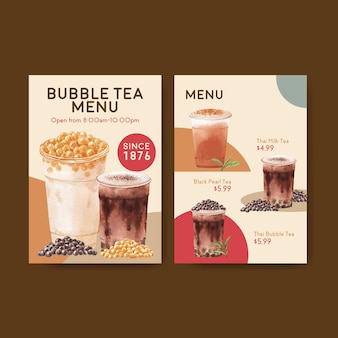 Menüvorlage mit bubble milk tea-konzept