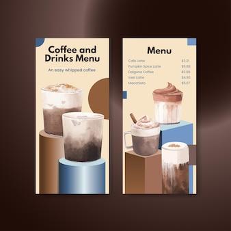 Menüvorlage mit kaffee im aquarellstil