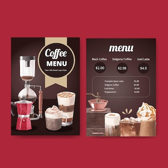 Menüvorlage mit kaffee