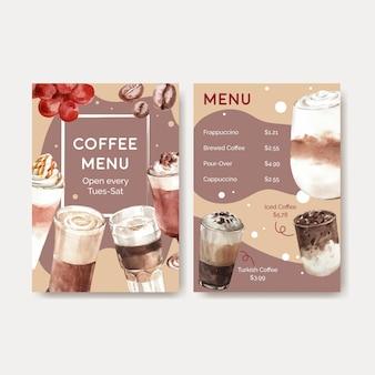 Menüvorlage mit koreanischem kaffeestilkonzept für restaurant- und bistroaquarell