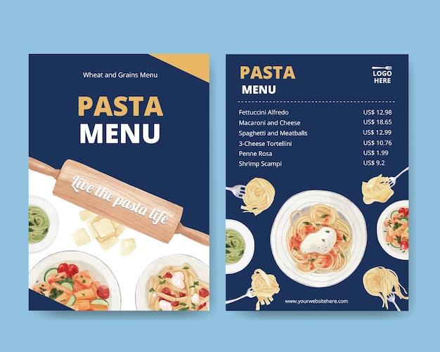 Menüvorlage mit pasta cancept, aquarell-stil