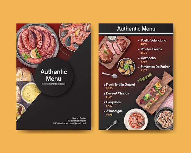 Menüvorlage mit spanischem küchenkonzeptentwurf für bisto und restaurantaquarellillustration