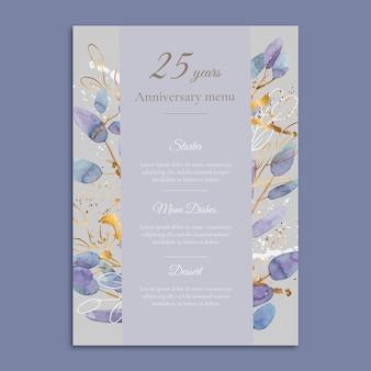 Menüvorlage zum 25-jährigen jubiläum