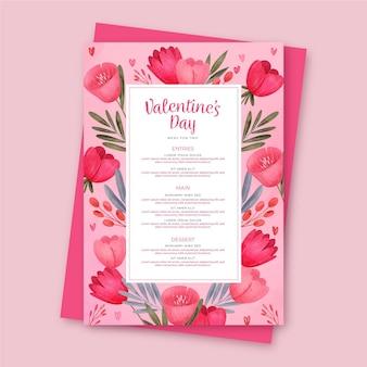 Menüvorlage zum valentinstag des aquarells