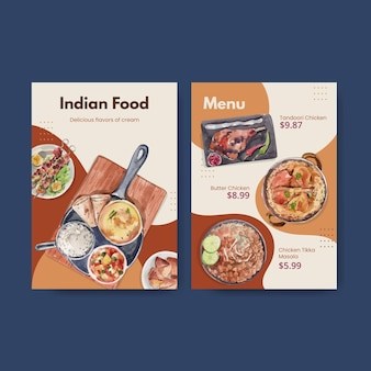 Menüvorlagen mit indischem essen