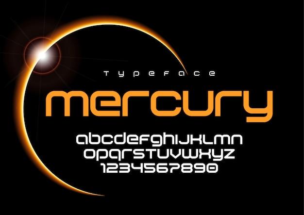 Mercury futuristische minimalistische schrift, alphabet, schrift