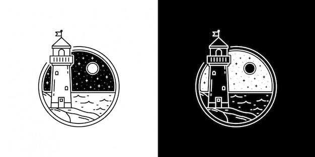 Mercusuar tower in der nacht monoline abzeichen design
