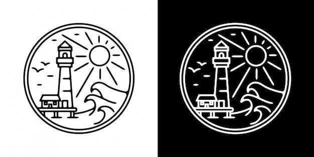 Mercusuar tower mit wave monoline badge design