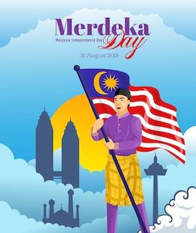 Merdeka-tag oder malaysischer unabhängigkeitstag-feier-hintergrund