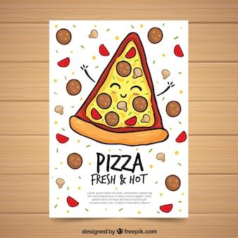 Merkblatt mit schönem stück hand gezeichneten pizza