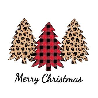 Merry christmas leopardenmuster und buffalo plaid ornament weihnachtsbäume mit leopardenmuster