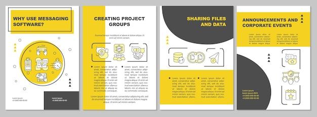 Messager-broschürenvorlage. teilen von dateien und daten. flyer, broschüre, broschürendruck, cover-design mit linearen symbolen. vektorlayouts für präsentationen, geschäftsberichte, anzeigenseiten