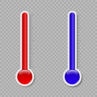 Messende hitze und kälte des temperaturthermometers lokalisiert auf weißem hintergrund