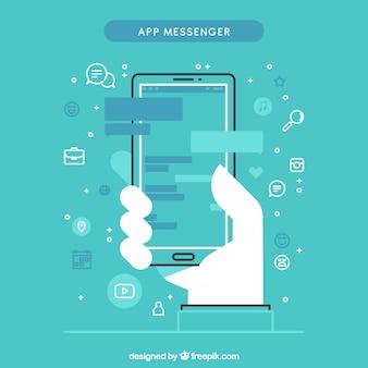 Messenger-app für handys im flachen stil