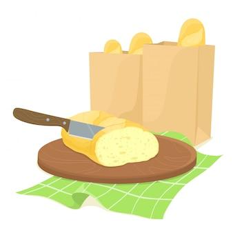Messerbrotschneiden auf einem holzbrett mit papiertüten brot. papiertüten mit brot. ein französisches baguette wird mit einem messer geschnitten. illustration im flachen stil.