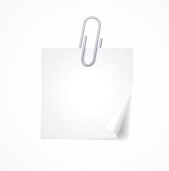 Metall büroklammer und papier leer