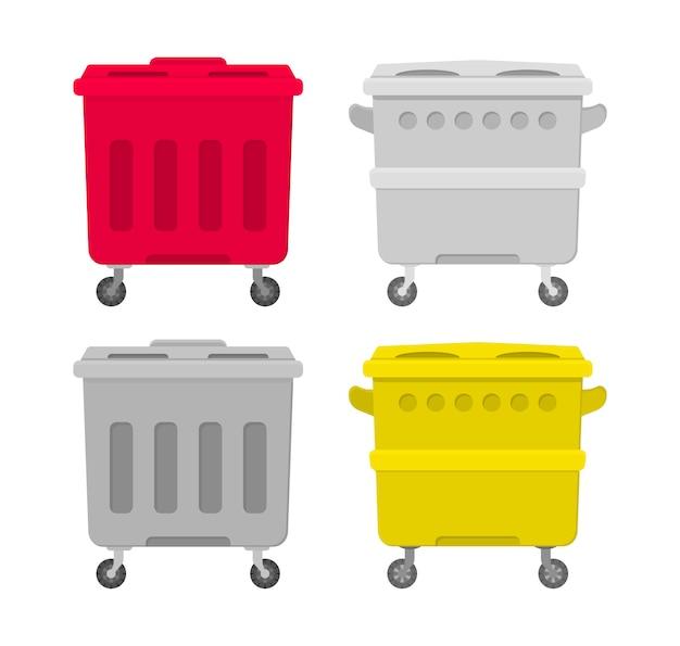 Metall- und plastikmüllbehälterbehälter lokalisiert auf weißem hintergrund. flache illustration von innenmülleimern auf der straße. sammlung von mülleimer und eimer für müll.
