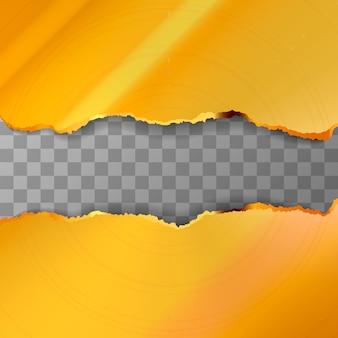 Metall zerrissene goldene stücke auf transparent