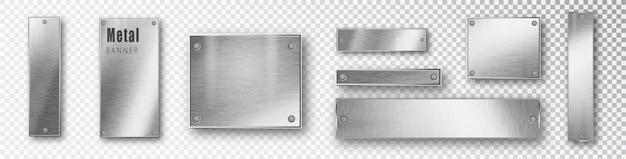 Metallbanner setzen realistisch. Premium Vektoren