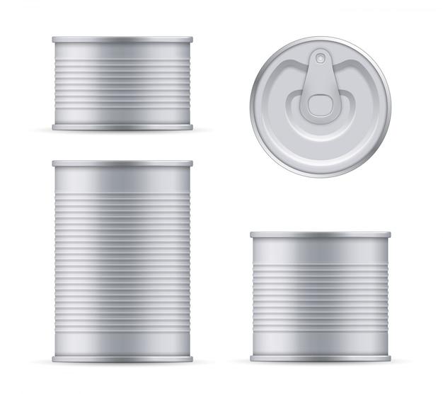 Metallblechdose der thunfischoberseite und der vorderansichtschablone.
