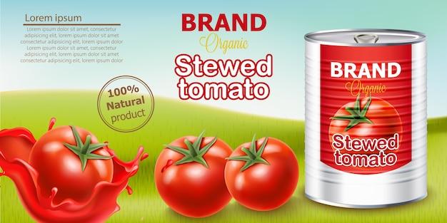 Metalldose steht auf wiese, umgeben von tomaten