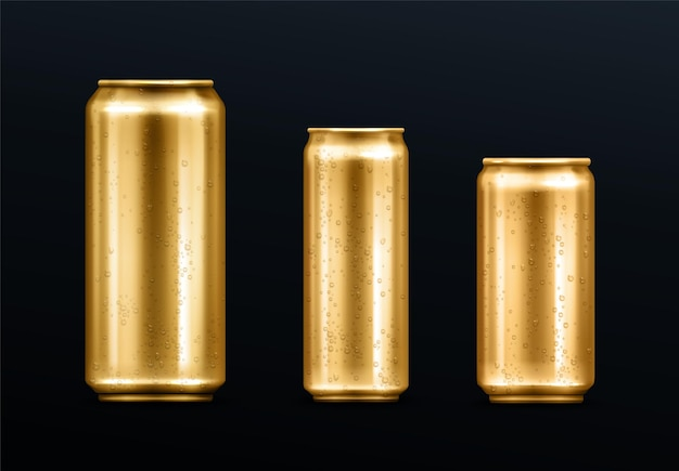 Metalldosen mit wassertropfen, goldfarbener behälter für soda oder energy drink, limonade oder bier. isoliertes goldenes leeres modell mit kalter kondensation für realistische 3d-vektorsätze der markendesignschablone
