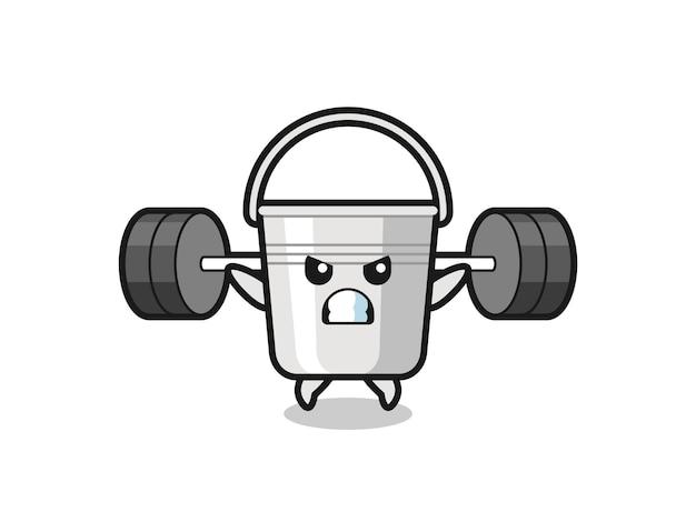 Metalleimer-maskottchen-cartoon mit einer langhantel, süßes design für t-shirt, aufkleber, logo-element
