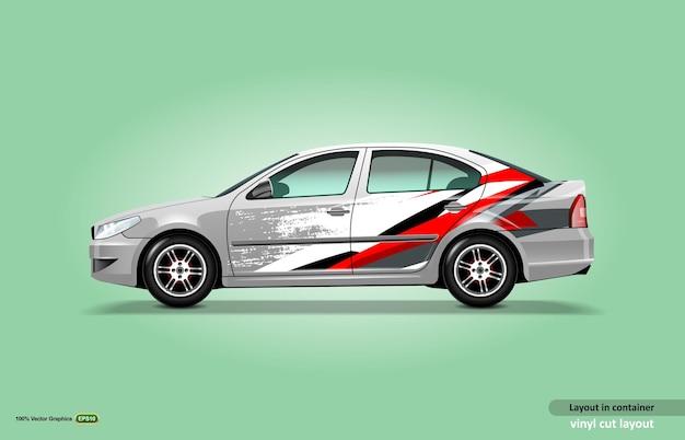 Metallic-limousinen-autoaufkleber-wrap-design mit abstraktem streifenthema-kit.