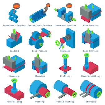 Metallikonen eingestellt. isometrische illustration von 16 metallverarbeitungsvektorikonen für netz