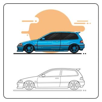 Metallisch blaues auto leicht editierbar