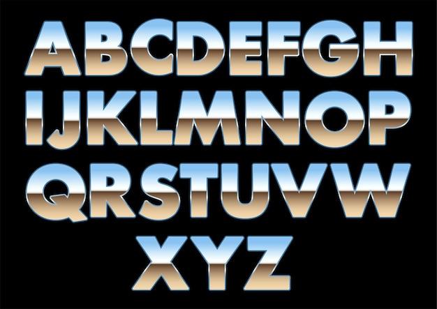 Metallisch glänzende schriftarten, chromschriftarten, buchstaben des alphabets