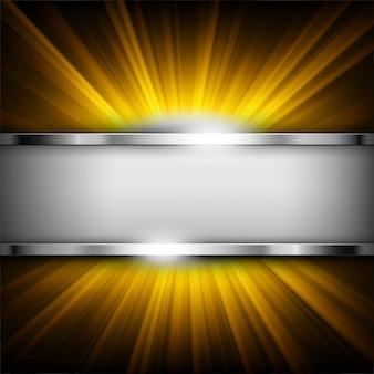 Metallische chromfahne mit textraum auf goldlicht