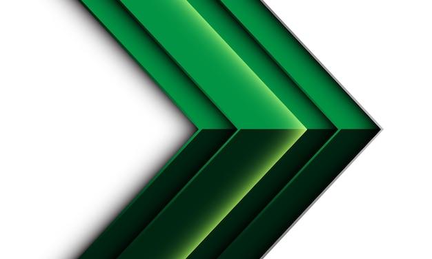 Metallische geometrische schattenrichtung des abstrakten grünen pfeils auf weißem futuristischem kreativem hintergrund