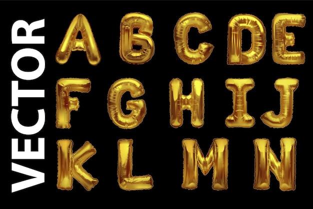 Metallische goldballons, goldene alphabeth. luftballons vom typ gold.