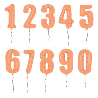 Metallische goldene zahlenballons 0 bis 9 set aus folien-heliumballons zum feiern von party-geburtstagsfeiern