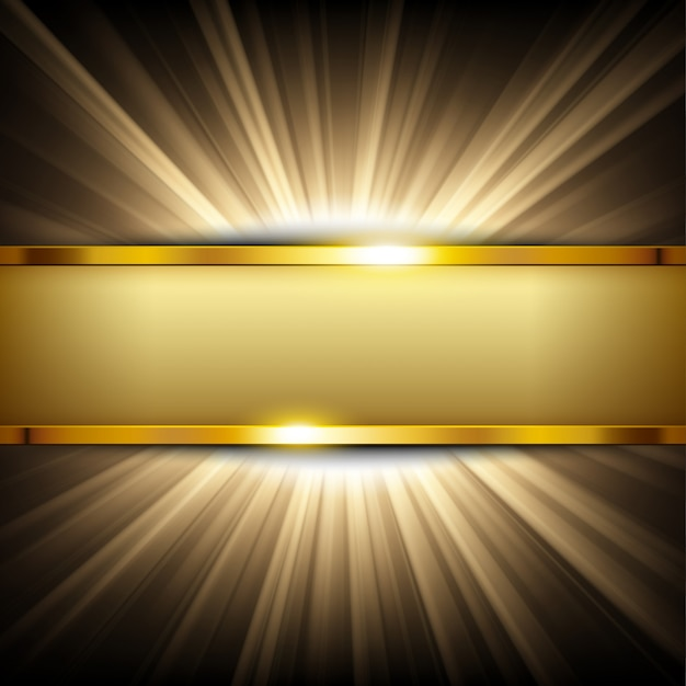 Metallische goldfahne mit textraum auf goldlicht