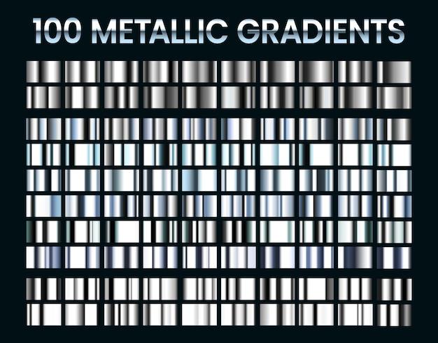 Metallische gradienten. glänzende silberne farbverläufe, farben aus platin und stahlmetall.
