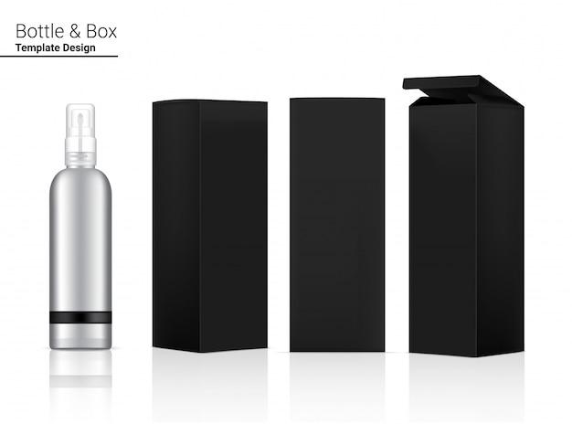 Metallische hochglanzsprayflasche realistische kosmetik und 3-dimensionale box zum aufhellen von hautpflege- und alterungsschutzmitteln gegen falten
