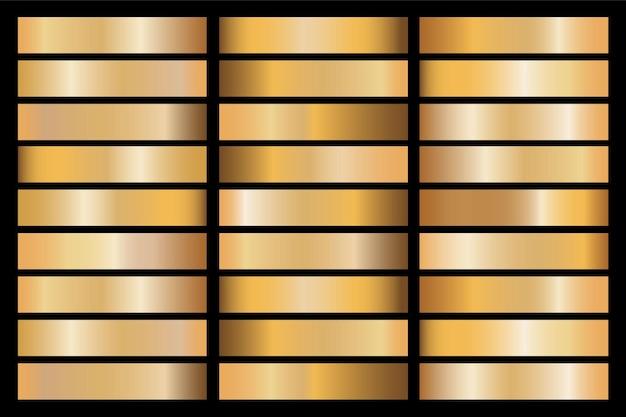 Metallische illustration der goldgradienten-satzhintergrundvektorsymboltextur für rahmen, band, fahne, münze und etikett. nahtloses muster des realistischen abstrakten goldenen entwurfs. elegante licht- und glanzschablone