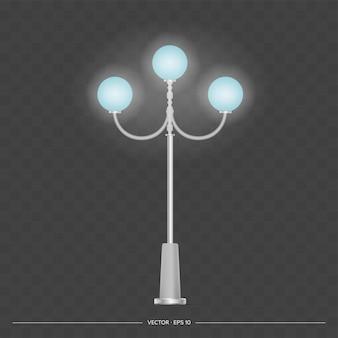 Metallische laternen, die glänzen. laternenpfahl mit realistischem licht. vektor.